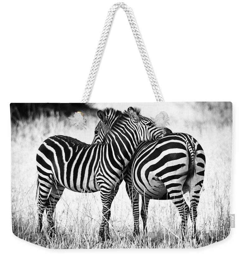 Zebra Weekender Tote Bags