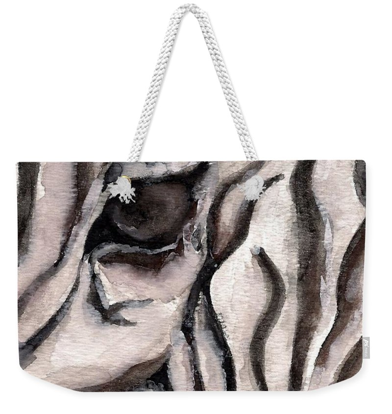 Zebra Weekender Tote Bag featuring the painting Zebra Watercolor by Laurie Pike