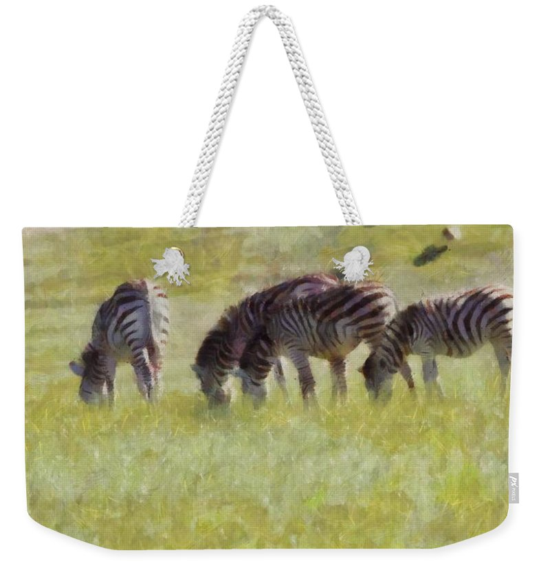 Zebras In Africa Weekender Tote Bag featuring the painting Zebras In Africa by Dan Sproul