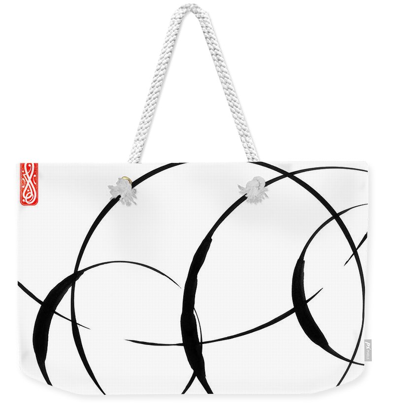 Zen Weekender Tote Bag featuring the painting Zen Circles 3 by Hakon Soreide