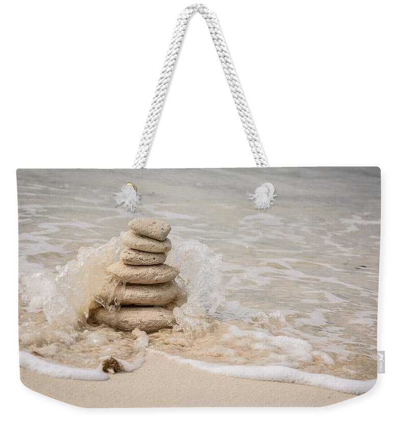 Stone Stack Weekender Tote Bag featuring the photograph Zen Stones by Mark Robert Rogers