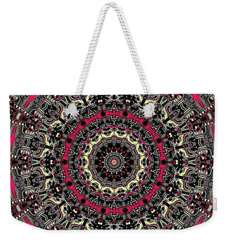 Mandala Weekender Tote Bag featuring the digital art Zentangle No. 7 Kaleidoscope by Joy McKenzie