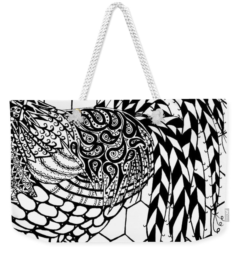 Rooster Weekender Tote Bag featuring the drawing Zentangle Rooster by Jani Freimann