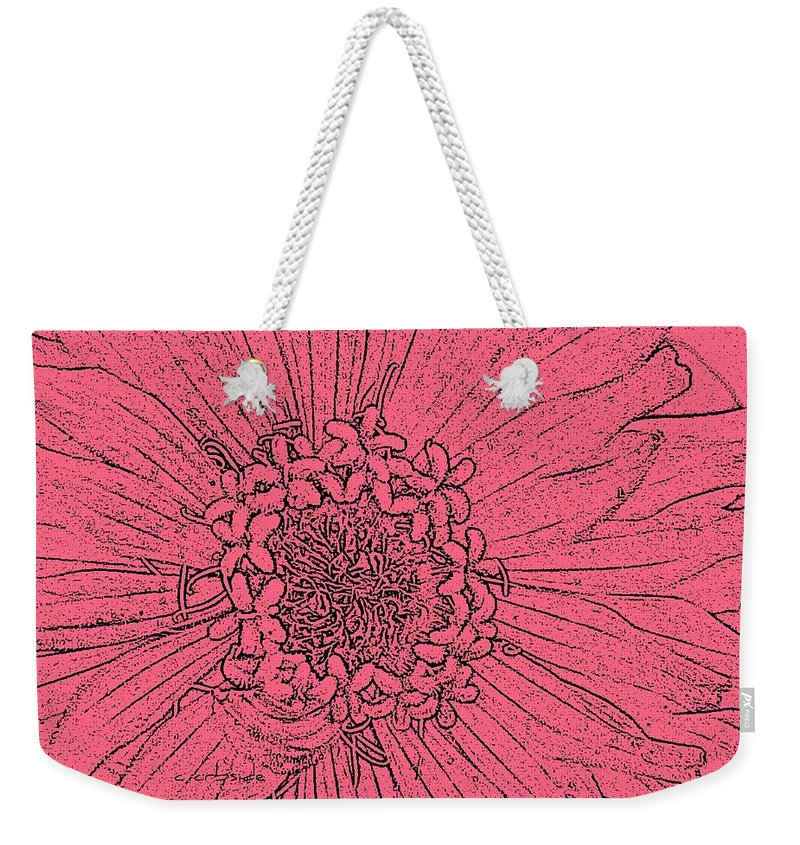 Earthy Weekender Tote Bag featuring the photograph Zinnia In Pencil by Chris Berry