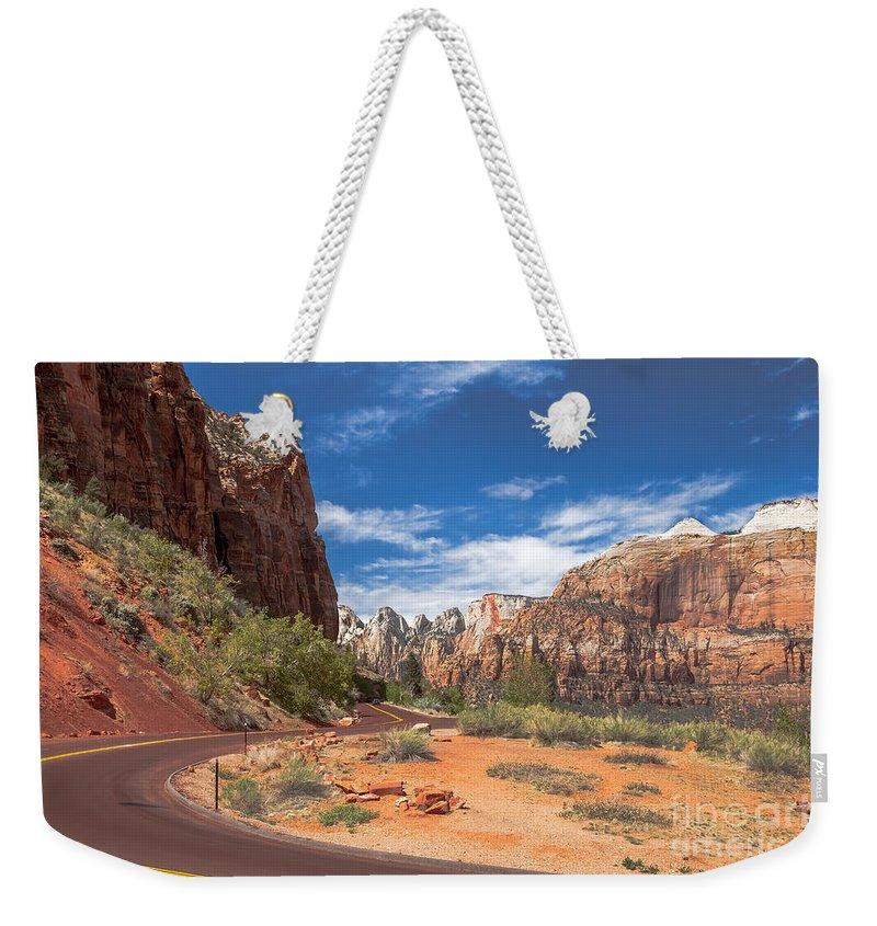Zion National Parks Weekender Tote Bag featuring the photograph Zion Mount Carmel Highway by Robert Bales