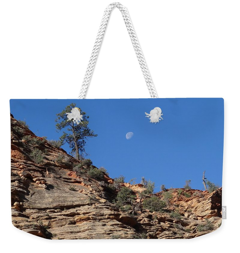 Zion National Park Moonrise Weekender Tote Bag featuring the photograph Zion National Park Moonrise by Dan Sproul