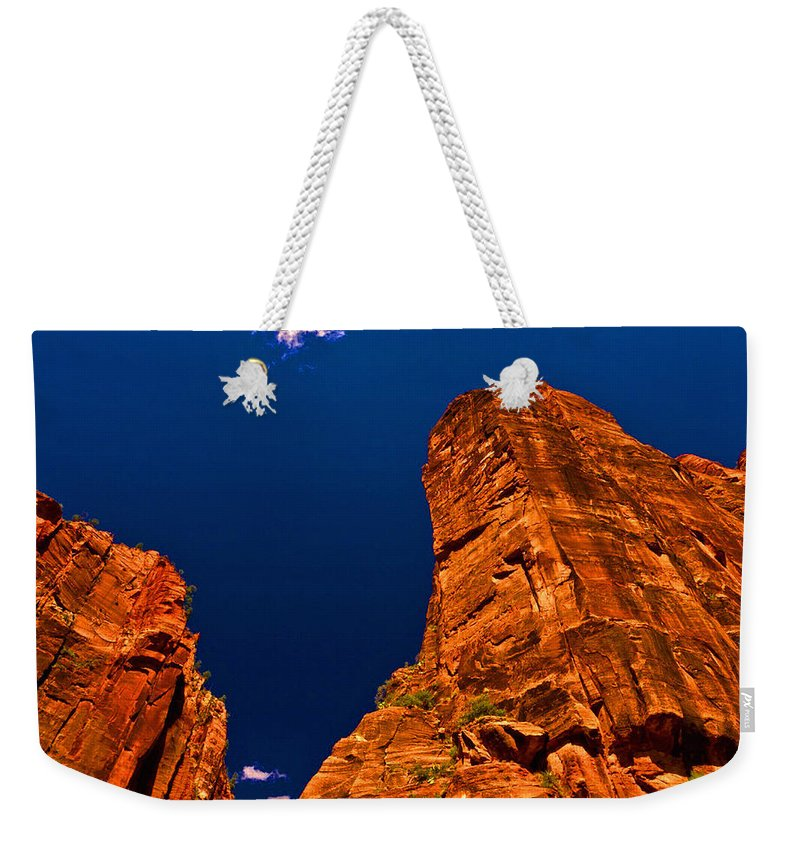 Landscape Weekender Tote Bag featuring the digital art Zion National Park Oil On Canvas by Don Kuing