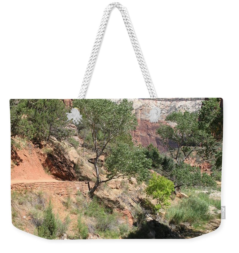 Mountians Weekender Tote Bag featuring the photograph Zion Park - Virgin River by Christiane Schulze Art And Photography