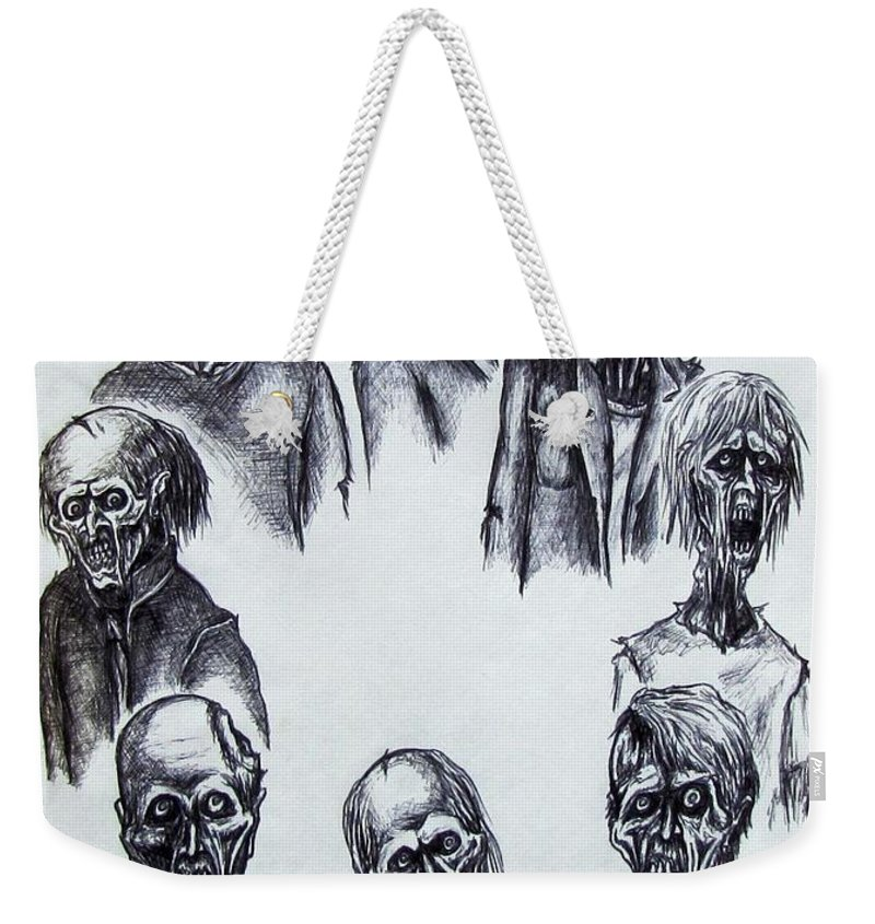 Michael Weekender Tote Bag featuring the drawing Zombies by Michael TMAD Finney