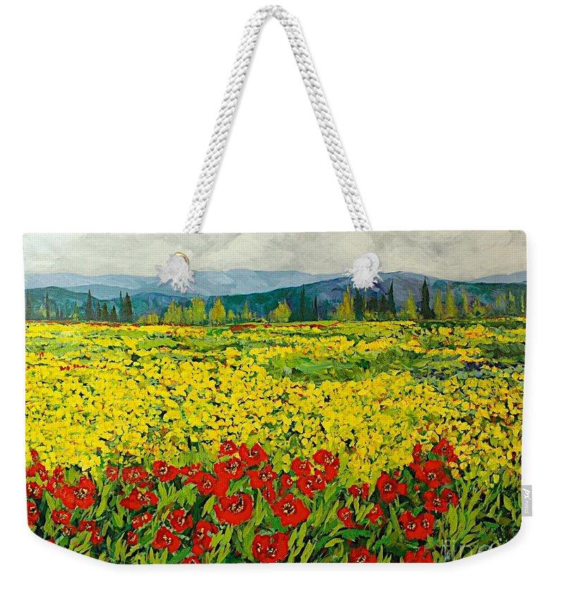Landscape Weekender Tote Bag featuring the painting Zone Des Fleur by Allan P Friedlander