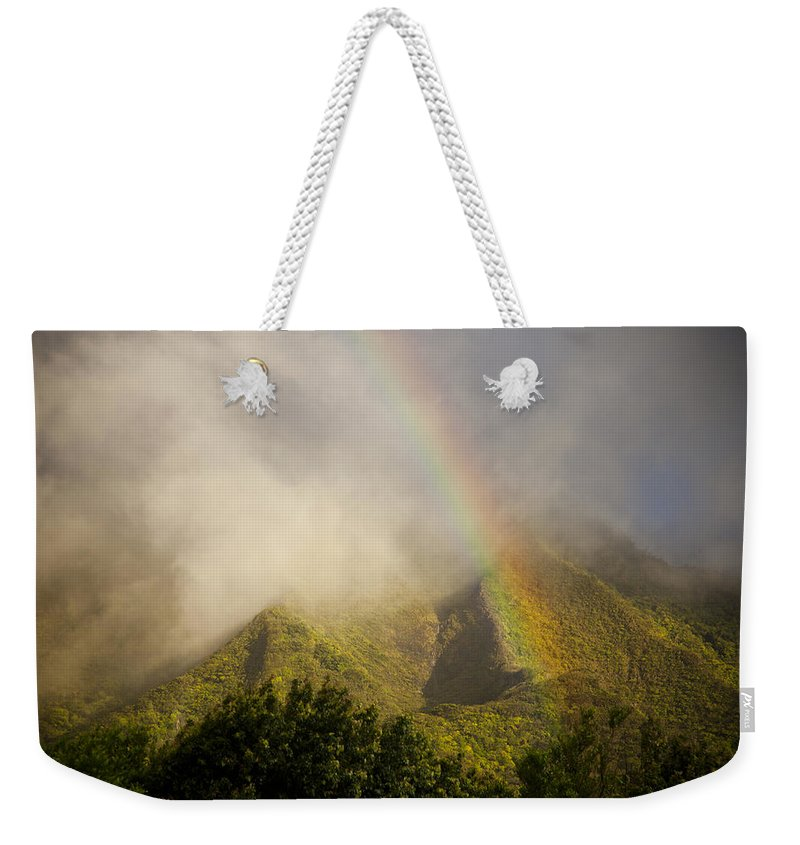 No People Weekender Tote Bag featuring the photograph  A Rainbow Shines Over The Rugged by Taylor S. Kennedy