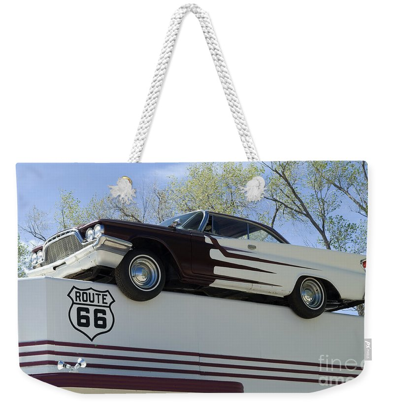 Chevy Truck Weekender Tote Bag featuring the photograph Route 66 De Soto by Bob Christopher