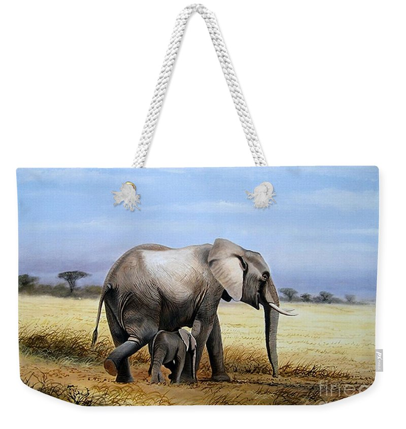 Elephants Weekender Tote Bag featuring the painting Elephant And Her Child by Francis Njoroge