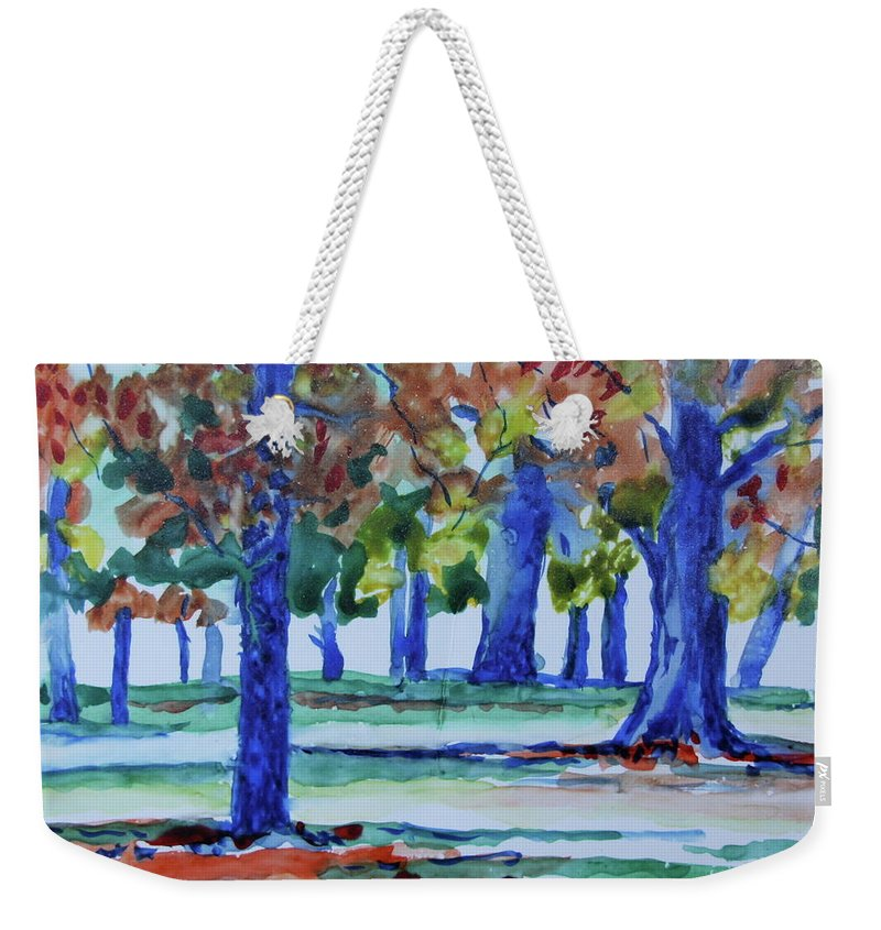 Impressionistic Weekender Tote Bag featuring the painting Fall in My Backyard by Jan Bennicoff