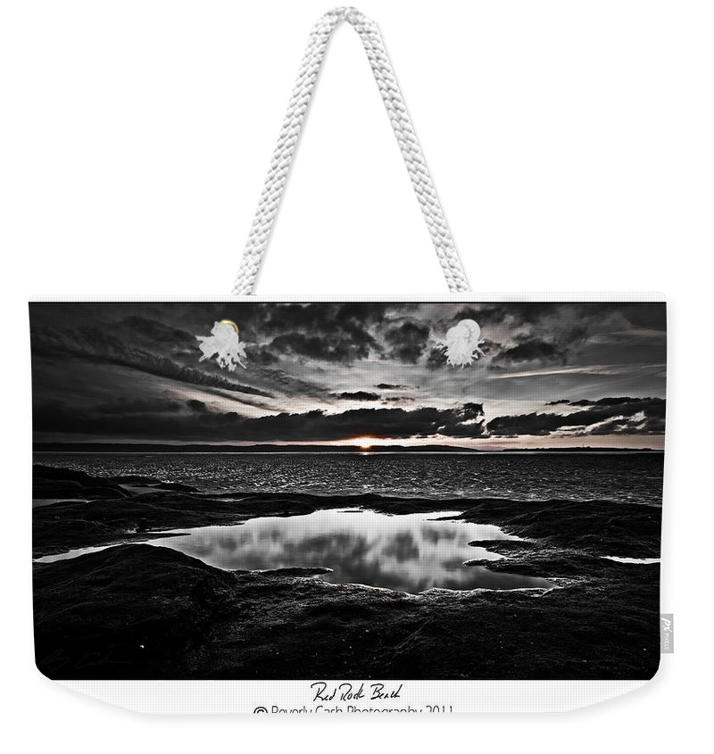 Black And White Weekender Tote Bag featuring the photograph Red Rock Beach  by Beverly Cash