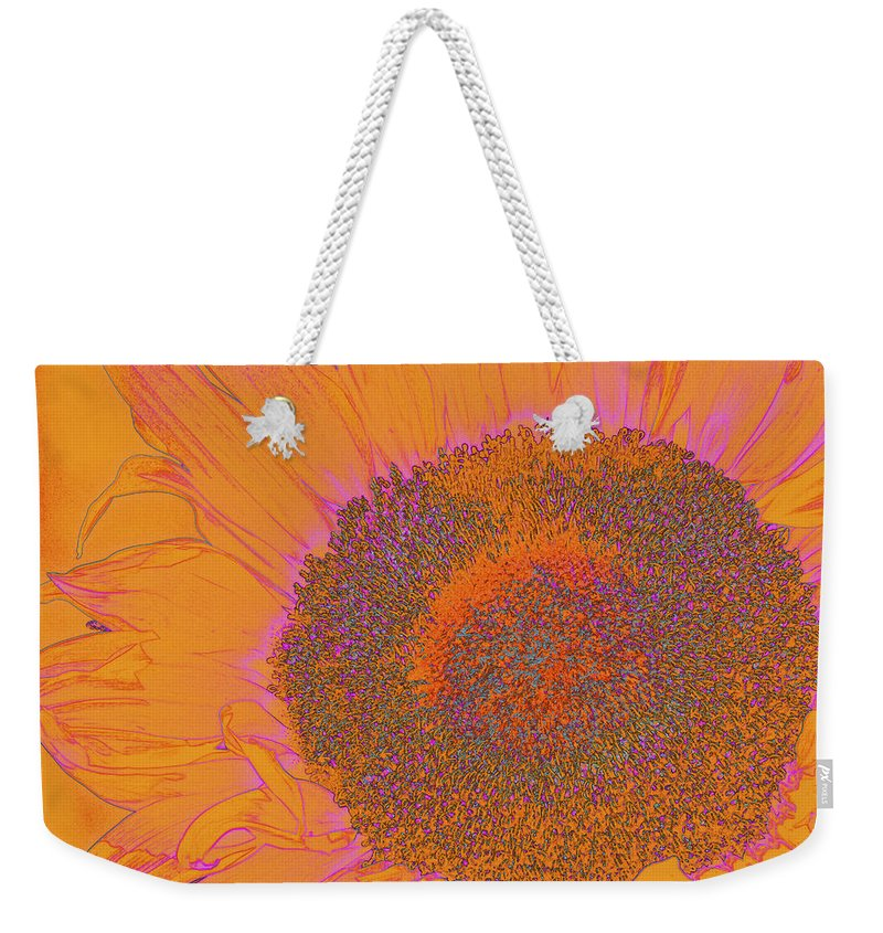 Sunflower Weekender Tote Bag featuring the photograph Sunflower In Orange And Pink by Phyllis Denton