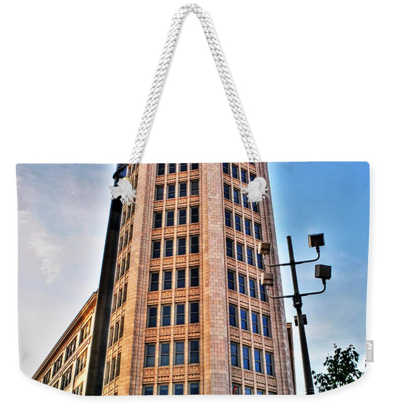 Weekender Tote Bag featuring the photograph 001 Electric Tower by Michael Frank Jr