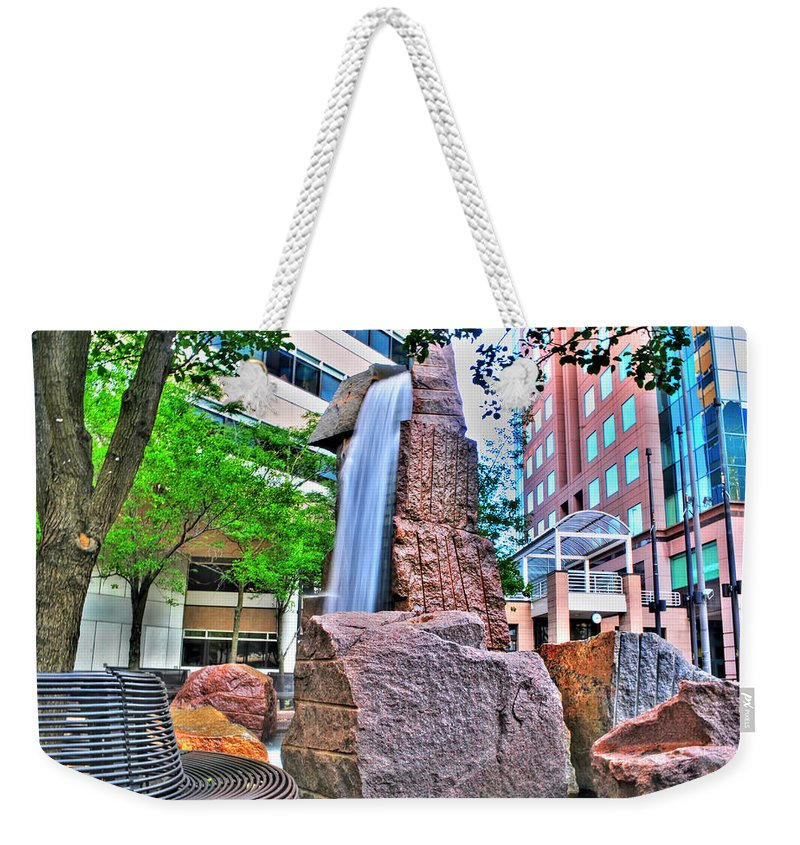 Weekender Tote Bag featuring the photograph 001 Fountain Plaza by Michael Frank Jr