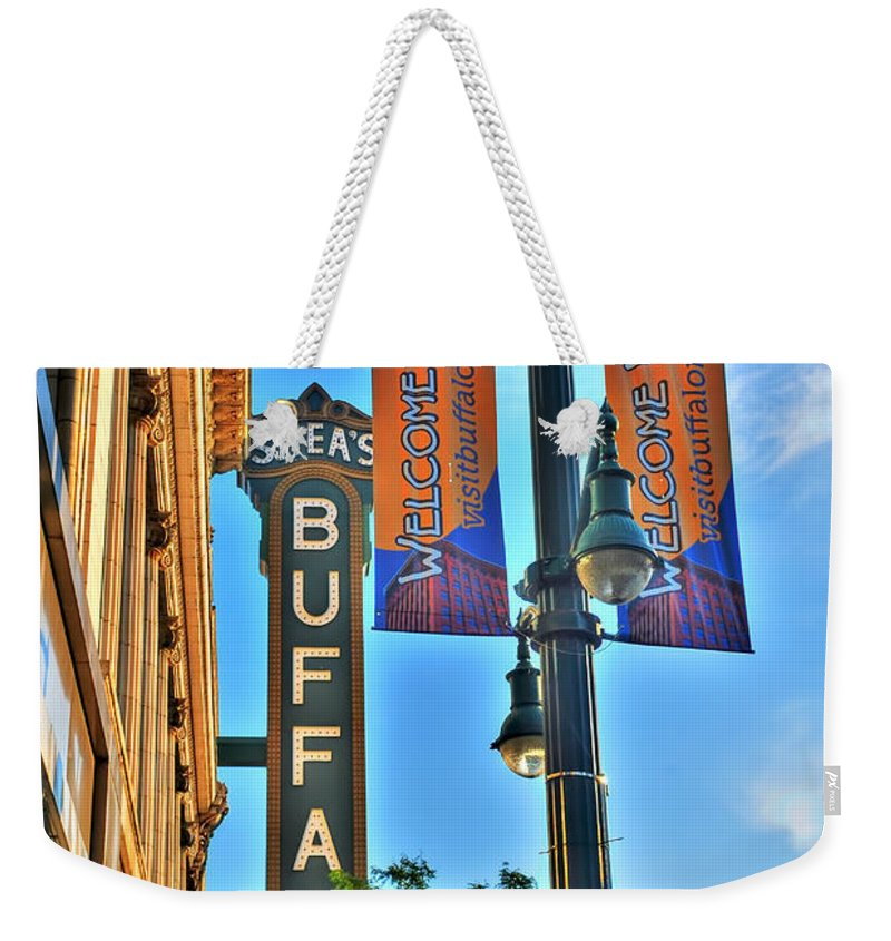 Weekender Tote Bag featuring the photograph 002 Sheas Buffalo by Michael Frank Jr