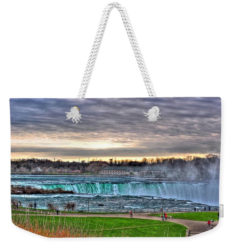 Weekender Tote Bag featuring the photograph 002 View Of Horseshoe Falls From Terrapin Point Series by Michael Frank Jr
