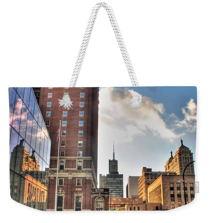 Weekender Tote Bag featuring the photograph 007 Wakening Architectural Dynamics by Michael Frank Jr