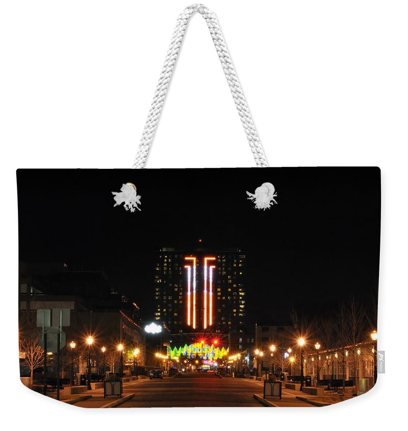 Weekender Tote Bag featuring the photograph 01 Seneca Niagara Casino by Michael Frank Jr
