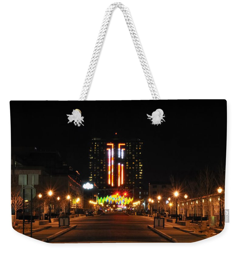 Weekender Tote Bag featuring the photograph 02 Seneca Niagara Casino by Michael Frank Jr