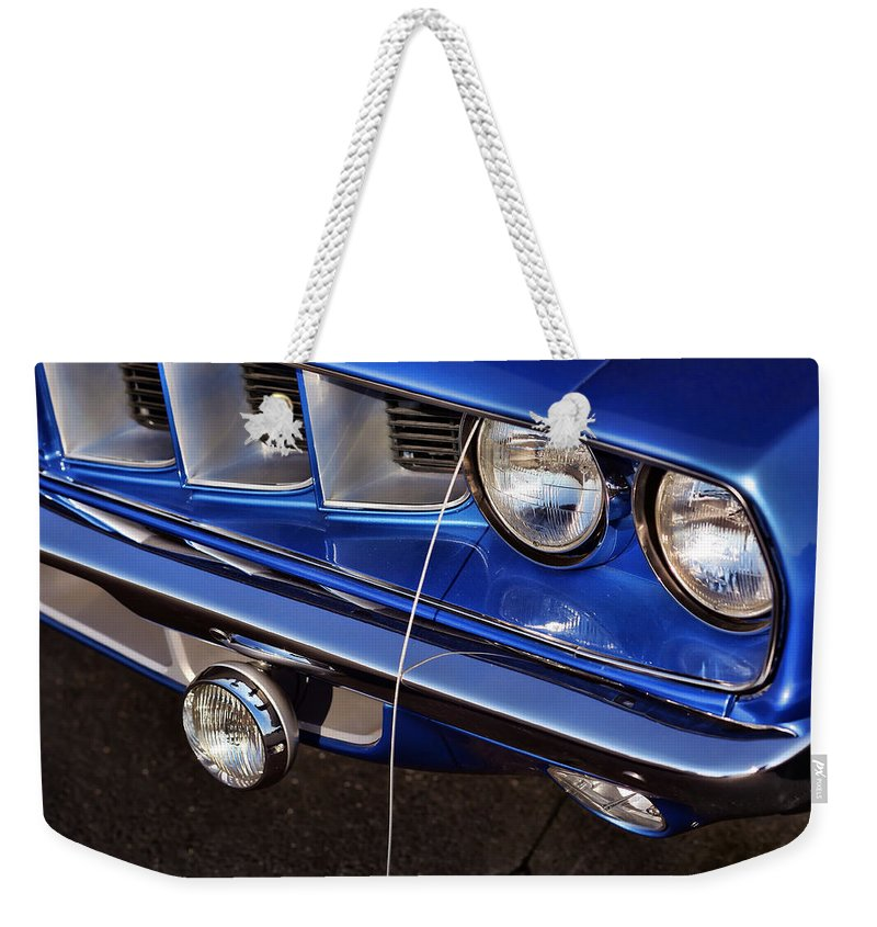 Blue Weekender Tote Bag featuring the photograph 1971 Plymouth Hemicuda by Gordon Dean II