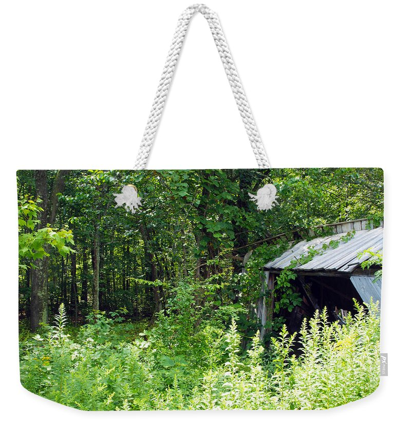 Farm Animals Weekender Tote Bag featuring the photograph A Broken Down Farm Building by Robert Margetts