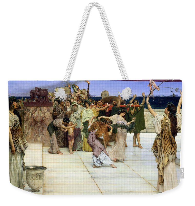 Dedication Weekender Tote Bag featuring the painting A Dedication To Bacchus by Sir Lawrence Alma-Tadema