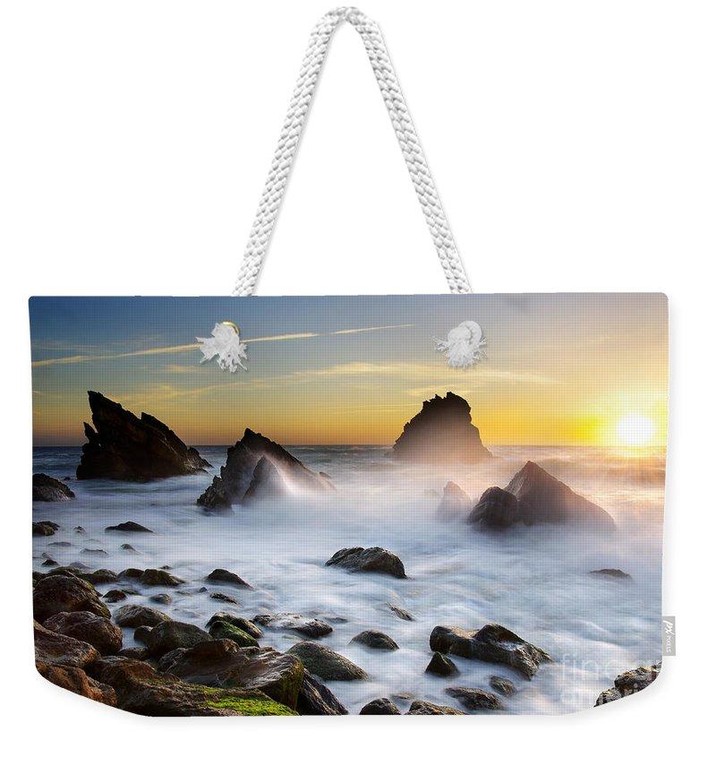 Adraga Weekender Tote Bag featuring the photograph Adraga Beach by Carlos Caetano