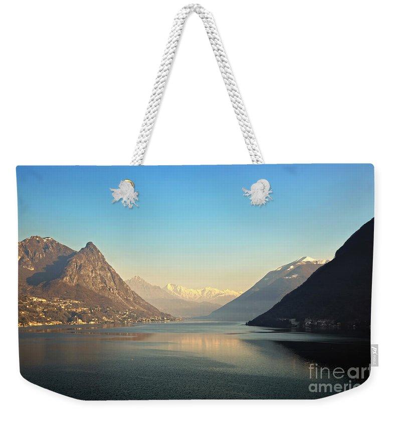 Lake Weekender Tote Bag featuring the photograph Alpine Lake by Mats Silvan