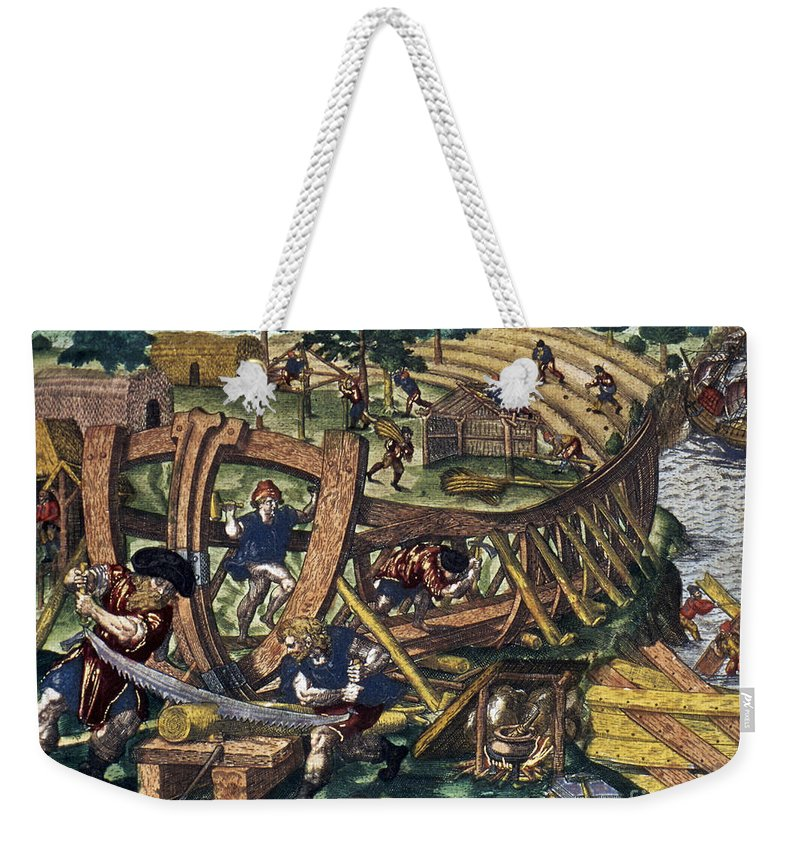 1594 Weekender Tote Bag featuring the photograph America: Shipbuilding, C1594 by Granger