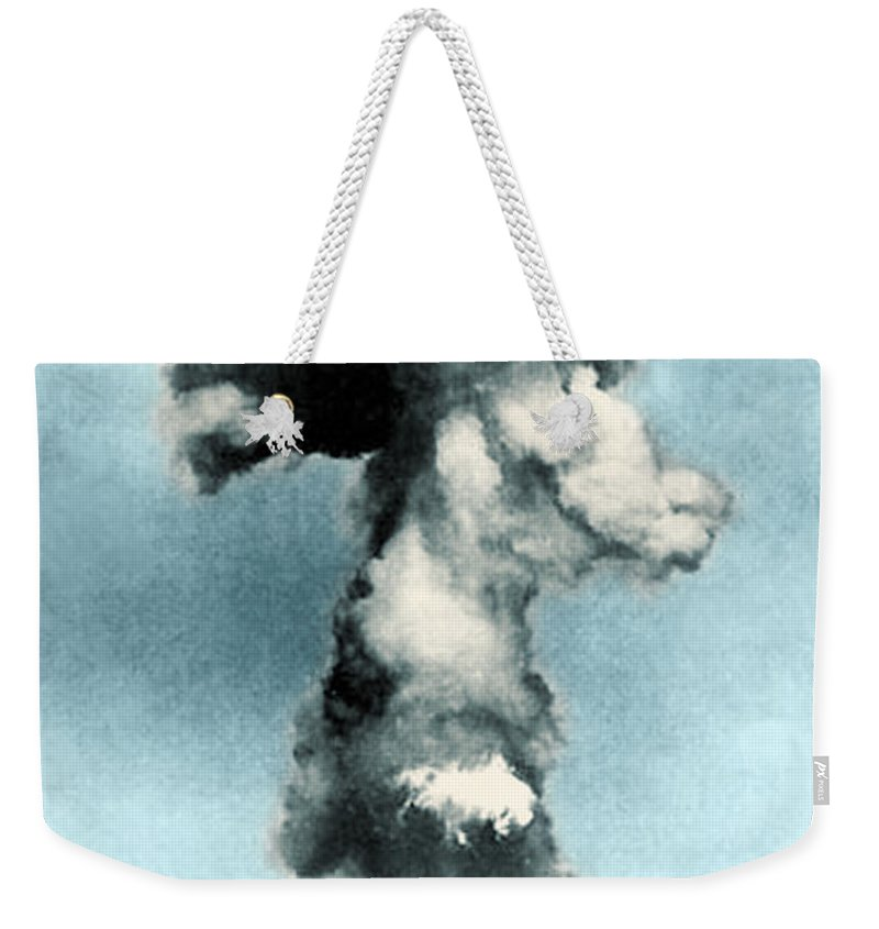 Enhanced Weekender Tote Bag featuring the photograph Atomic Bombing Of Nagasaki by Science Source