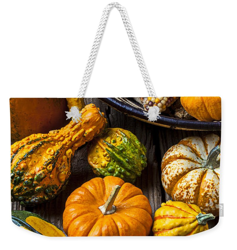 Gourd Weekender Tote Bag featuring the photograph Autumn Still Life by Garry Gay