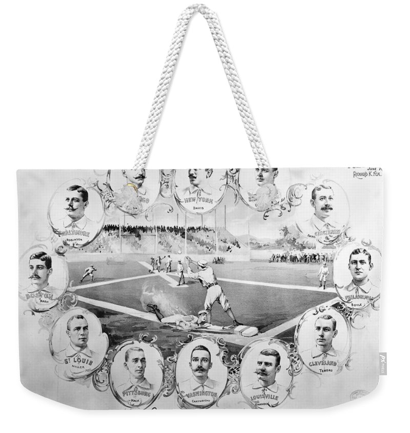 1895 Weekender Tote Bag featuring the photograph Baseball, 1895 by Granger