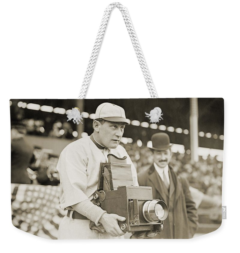 1911 Weekender Tote Bag featuring the photograph Baseball: Camera, C1911 by Granger