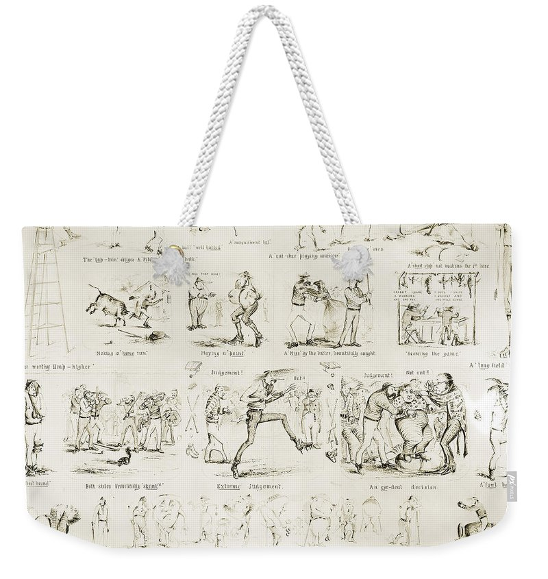 1859 Weekender Tote Bag featuring the photograph Baseball Cartoons, 1859 by Granger