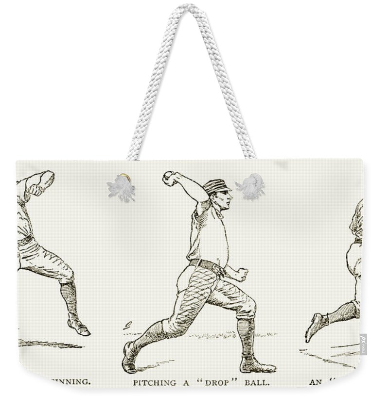 1889 Weekender Tote Bag featuring the photograph Baseball Pitching, 1889 by Granger