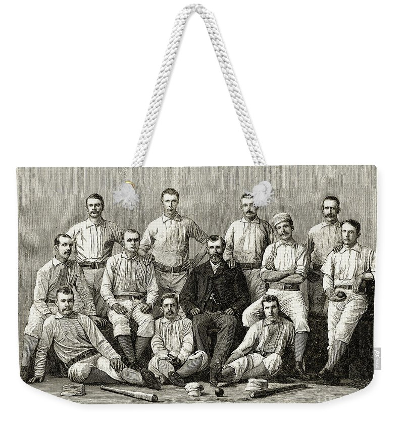 1882 Weekender Tote Bag featuring the photograph Baseball: Providence, 1882 by Granger