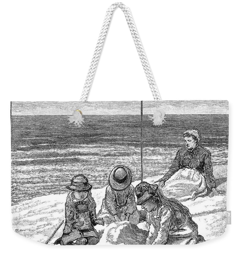 1879 Weekender Tote Bag featuring the photograph Beach Scene, 1879 by Granger
