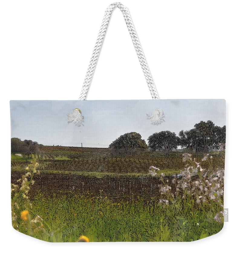 Green Weekender Tote Bag featuring the digital art Beautiful California Vineyard Framed With Flowers by Brandon Bourdages