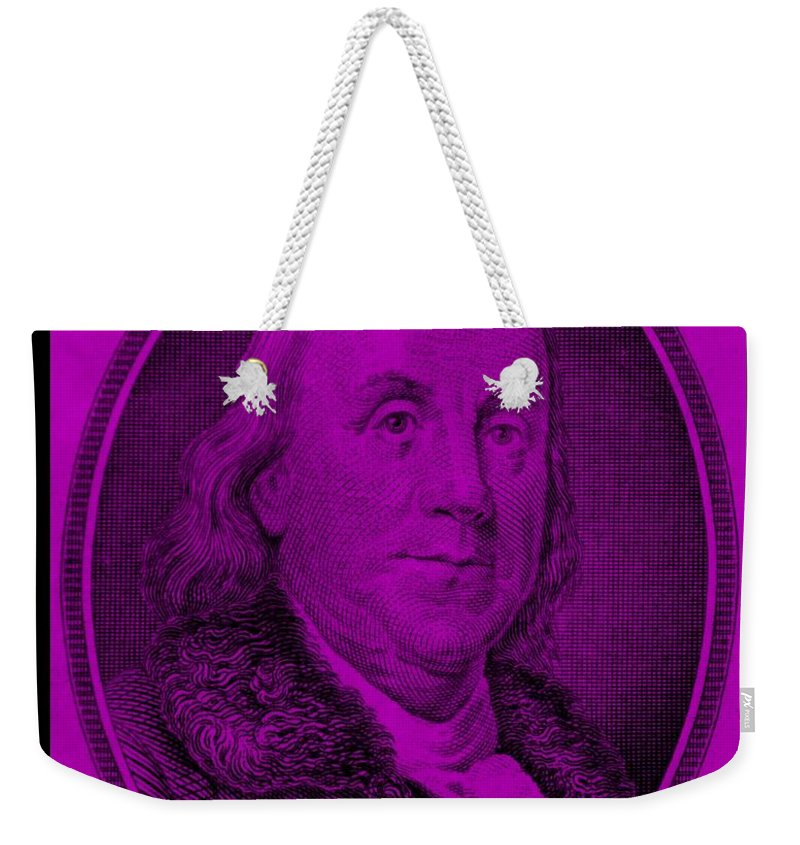 Ben Franklin Weekender Tote Bag featuring the photograph Ben Franklin In Purple by Rob Hans