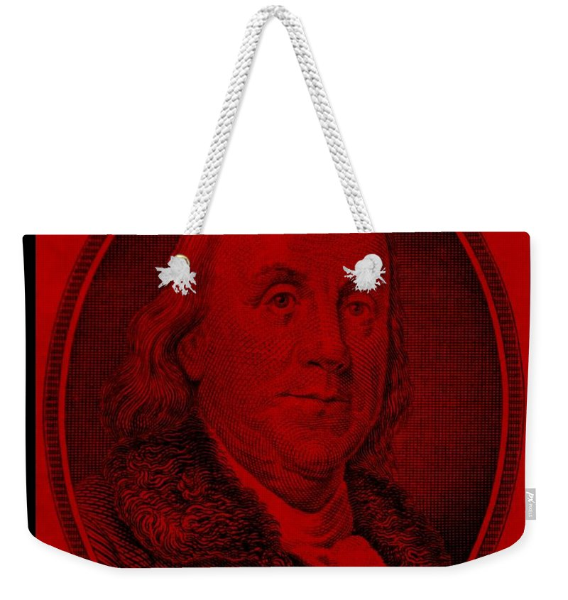 Ben Franklin Weekender Tote Bag featuring the photograph Ben Franklin In Red by Rob Hans