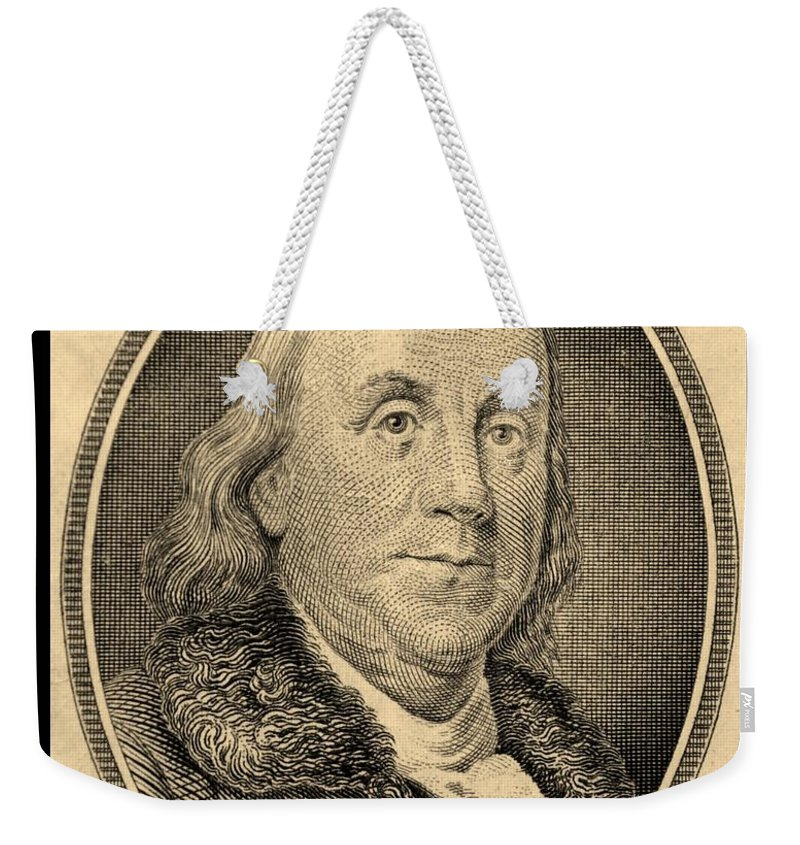 Ben Franklin Weekender Tote Bag featuring the photograph Ben Franklin In Sepia by Rob Hans