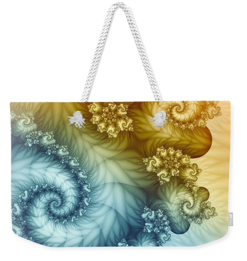Fractal Weekender Tote Bag featuring the digital art Beyond The Horizon by Jutta Maria Pusl