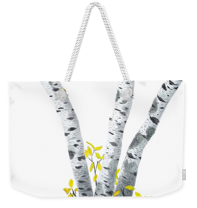 Birches Weekender Tote Bag featuring the drawing Birches by Garry McMichael