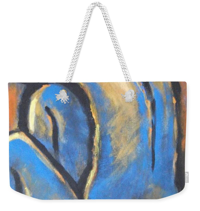 Original Weekender Tote Bag featuring the painting Blue Back by Carmen Tyrrell
