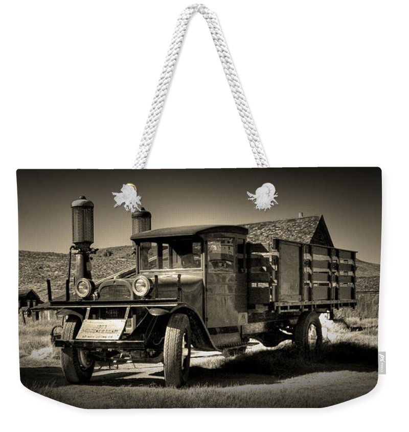 Bodie Gas Stop Weekender Tote Bag featuring the photograph Bodie Gas Stop by Chris Brannen
