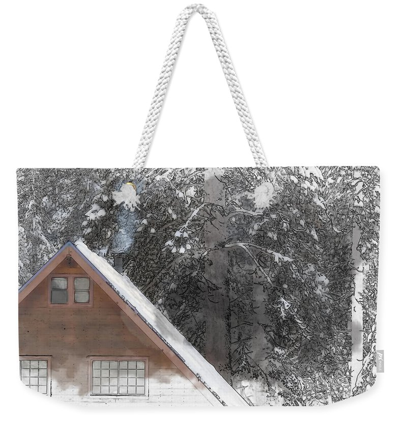Cabin Weekender Tote Bag featuring the digital art Cabin In The Winter by Brandon Bourdages